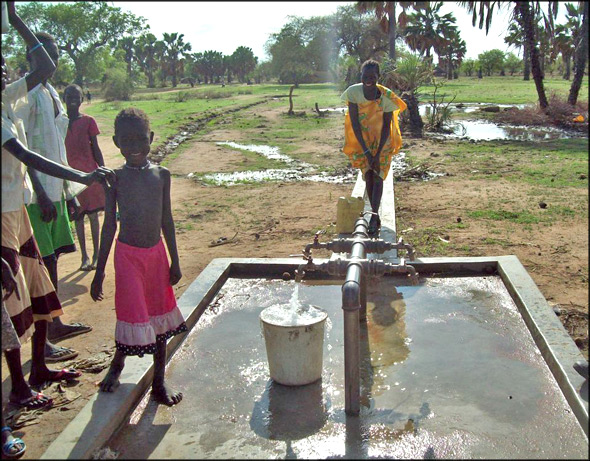 """An IAS """"Mini Water Yard"""" with tap stand in Aweil East, South Sudan"""