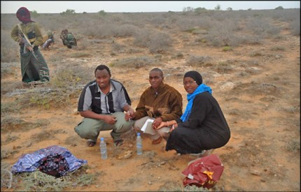 Martin, Abdinoor and Janet, photographed shortly after their abduction in July, 2012
