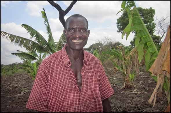 Amone Tito is proud of his new small business – a banana plantation.